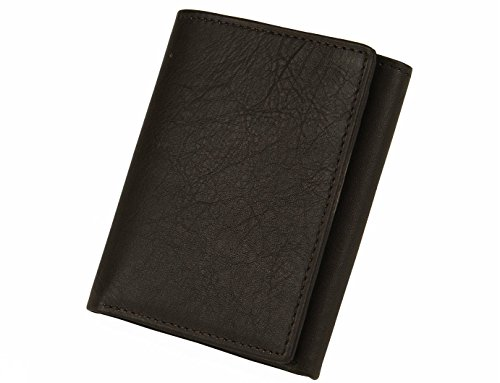 MUNDI Mens Classic Soft Smooth Leather Trifold Wallet Gift Box & Plastic Insert (One Size, Brown) (Leather Inserts Men compare prices)