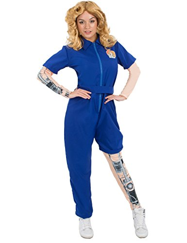 [Ladies Bionic Woman Mechanical Jumpsuit Superhero Halloween Costume Large] (Fembot Costumes)