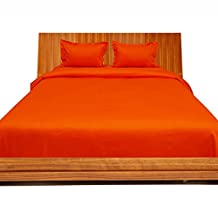 Relaxare Queen 600TC Orange Solid 4PCs Duvet Set Fitted Sheet Solid (Pocket Size: 17 inches)