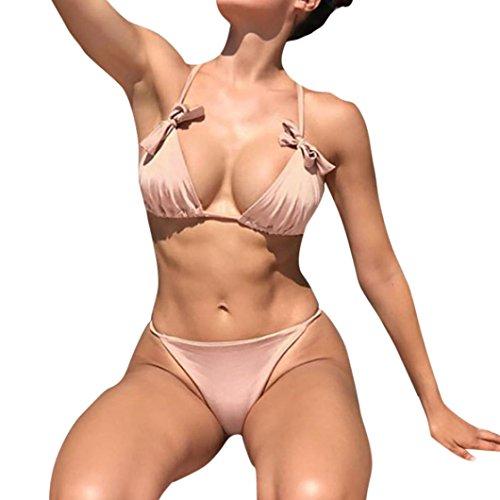 TPulling Damen Sommer Soft Cup﹛Fliege Bandage-BH﹜Triangle Bikini﹛Gepolsterter Split Badeanzug Tankini﹜Druckes Bademode Push-up Schmetterling Pareos Strandkleider Rosa ZekRbIY4
