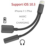 Support iOS 10.3 - Lightning to 3.5mm Audio Adapter, Betteck 2A 2 in 1 Lightning Charger and 3.5mm Earphones Jack Cable for Apple iPhone 7 7 Plus 6S 6 iPod iPad (Lightning- Black)