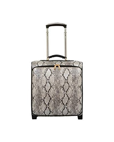 Exotic Forest Snake Skin Themed Carry On Rolling Foldable Laptop Suitcase, Softsided Bright Animals Print Pattern, Multi Compartment, Fashionable, Checkpoint Friendly Soft Travel Bag, Cream, Size 16'' by S & E