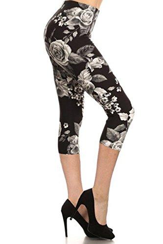 Capri Print Leggings Charcoal Rose (R603-CA-PLUS)