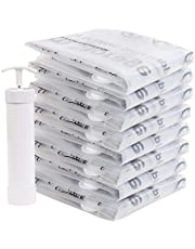 """CHADIOR Vacuum Storage Bags, 8 Pack Large 24""""x 32"""" Compressed Air by Sitting, No Pump Needed, Double-Color Zip, for Clothes, Pillows, Towels, Blankets, White"""