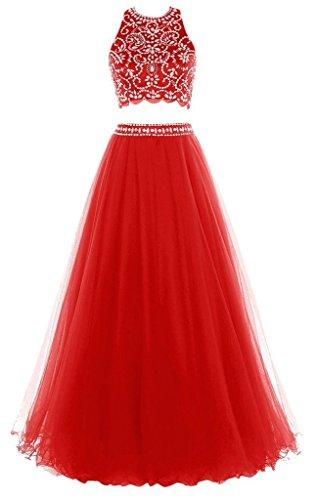Long Evening Red Halter Beaded Dress Dress Olidress Women's Prom Two Pieces pxa4wwUnBq