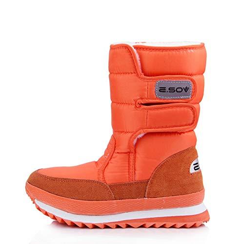 JOYBI Women Waterproof Mid-Calf Snow Boots Comfortable Hook and Loop Winter Warm Round Toe Outdoor Shoes Orange