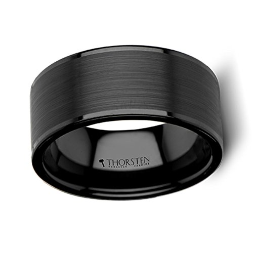 Thorsten Vulcan Black Tungsten Ring with Brushed Finish and Polished Edges 10mm Width from Roy Rose Jewelry