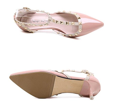 GS~LY Souliers pour dames avec pointe fine rivet avec une boucle chaussures