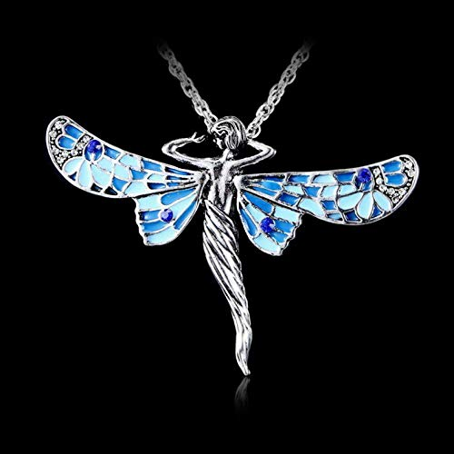 Kaputar Vintage Retro Dragonfly Angel Crystal Pendant Chain Long Jewelry Necklace Gift | Model NCKLCS - 17706 |