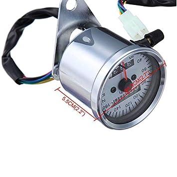 Black Universal LED Backlight Signal Dual Odometer Speedometer Gauge Motorcycle Custom Cafe Racer Old School Street bike