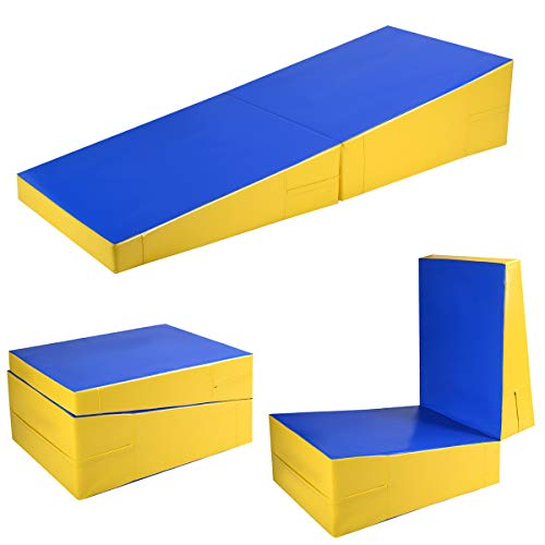 Giantex 70x 30x 15 Inches Folding Incline Gymnastic Mat Wedge Shape Gymnastic, Gym Fitness Tumbling Skill Shape Mat for Kids Girls Home Training Exercise, Blue/Yellow