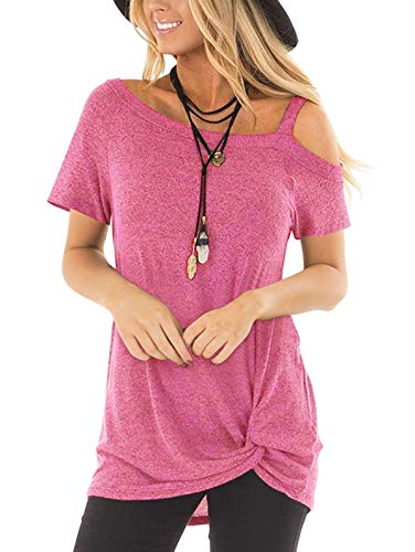 TEMOFON Women's Shirts Cold Shoulder Tops Summer Short Sleeve Casual Fashion Knot Twist Front Blouse T-Shirt Pink S