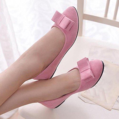 Zapatillas De Mujer Euone Zapatos De Trabajo Zapatos De Corbata Con Moño Zapatos Cómodos Para Barcos Zapatos De Color Rosa