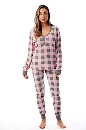 #followme Buffalo Plaid 2 Piece Base Layer Thermal Underwear Set for Women 6372-10195-NEW-PNK-L -