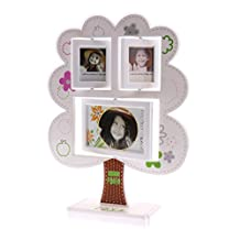 Dovewill 3 Pictures Photo Frame Plastic Apple Tree Shaped Family Friends Photo Frames Collage Holder Kid's Birthday Gift - White, as described