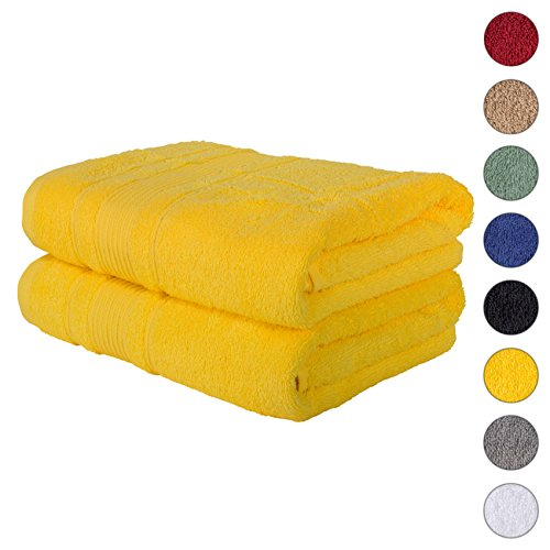 2 PACK Bath Towels Set | Premium Quality Luxury Turkish Cotton Absorbent AND Super Soft – YELLOW