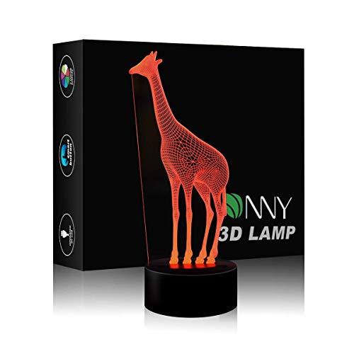 Giraffe 3D Illusion LED Night Lamp Desk Lamp 3D Optical Illusion Visualization LED Night Lights Table Lamp 7 Colors Multicolored USB Power for Living Bed Room Bar Best Gift Toys for children