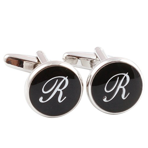 HJ+Men%27s+2PCS+Rhodium+Plated+Cufflinks+Silver+Initial+Letter+Shirt+Wedding+Business+1+Pair+Set+Black+R