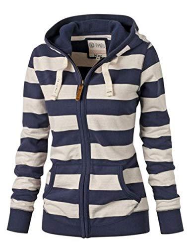 Alisena Hooded Sweater Plus Size for Women, Zipper Tops Hoodie Sweatshirt Coat Jacket Casual Slim Hoodied Pullover Navy