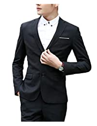 QD-CACA Men's Formal 3 Piece Set Solid Long Sleeve Slim Fit Suit Set
