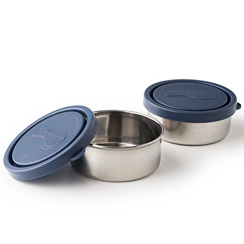 U-Konserve - Round Containers, Stainless Steel, Pack in Lunches, Picnics and Travel, Perfect for Nuts, Raisins, Hummus and Dips and More, Dishwasher Safe (Small, Ocean, Set of 2)