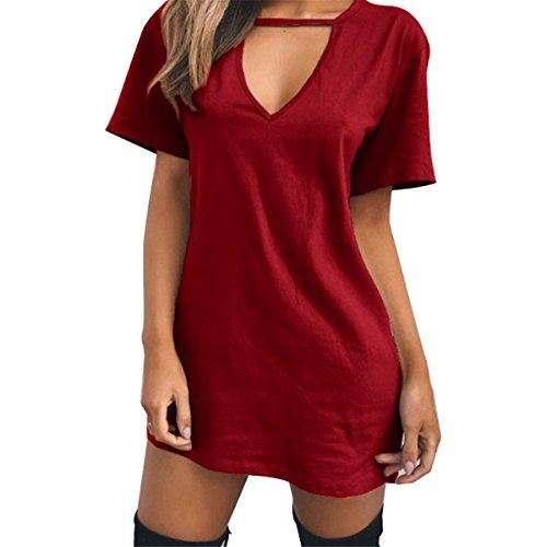 Donne shirt Sottile Vestito Carejoy collo Solido Manica Vino Corta Tunica T V Rosso Sexy Delle Casuale 50FOxwqqP