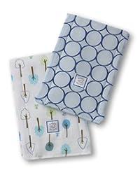 SwaddleDesigns Baby Burpies, True Blue Mod Circles and Cute & Calm (Set of 2 Burp Cloths)