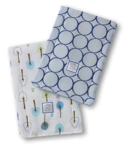 SwaddleDesigns Baby Burpies, Set of 2 Cotton Burp Cloths, True Blue Jewel Tone Mod Circles with Cute and Calm by SwaddleDesigns