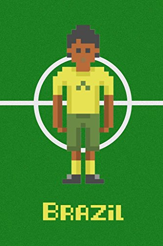 Poster Foundry Brazil Soccer Pixel Art National Team Sports Stretched Canvas Wall Art 16x24 inch