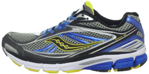 Saucony Men's Omni 12 Running Shoe,Grey/Blue/Yellow,11.5 M US