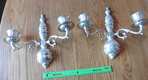 Silverplate Brass Candle Sconces wall mount double arm holder vintage EPNS India