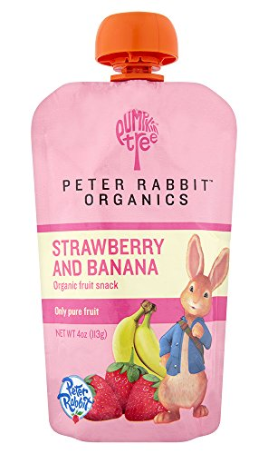 Peter Rabbit Organics, Organic Strawberry and Banana 100% Pure Fruit Snack, 4.0-Ounces Pouches, (Pack of 10)