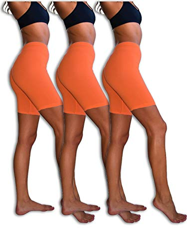 Sexy Basics Womens 3 Pack Sheer & Sexy Cotton Spandex Boyshort Yoga Bike Shorts (Small -5, 3 Pack-NEON Orange) -
