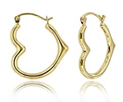 Show your significant other your love with this pair of polished 14k gold heart hoop earrings. The heart has long been the symbol for love and passion. The fine gold gives this symbol an extra dimension of longevity and depth. They are small ...