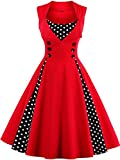 Jiuzhoudeal Women's 1950s Vintage Sleeveless Retro Swing Party Classy Dress (Large, Red)