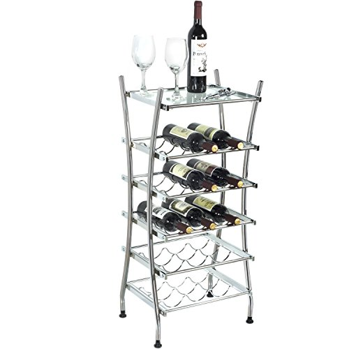 Modern Freestanding Bottle Holder Chrome