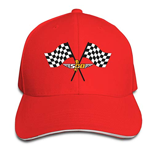 (JAXX9 Checkered Flag Checkerboard Squares Black White Washed Cotton Baseball Cap Adjustable Hat for Women Men Red)