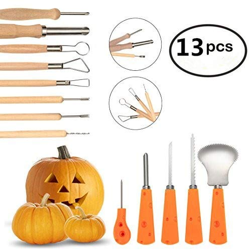 13 Piece Sturdy Stainless Steel Pumpkin Carving Tool Kit - Pumpkin Tools For Halloween Creative Carving by Cuts, Scoops, Scrapers, Saws, Loops