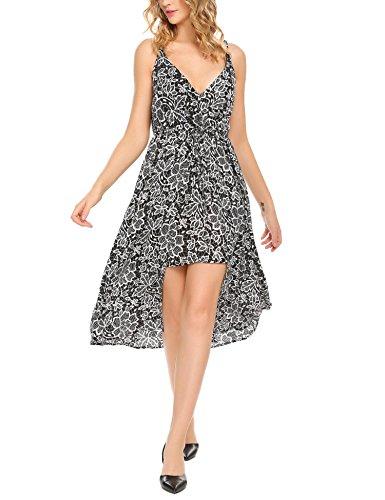 Damen Kleid Blumen Cocktail Ärmlos Maxikleid Tief V-Ausschnitt Abendkleid Lang Partykleid Weiße Blumen