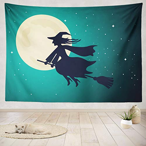 ASOCO Tapestry Wall Handing The Old Witch Flies On A Broomstick in The Night Sky of The Full Moon Halloween Wall Tapestry for Bedroom Living Room Dorm 60X60 Inches ()