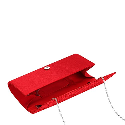 Handbag Story Bridal Bags Wedding Clutch Purse Red Women's U Floral Party Evening Elegant Lace TR7Bq