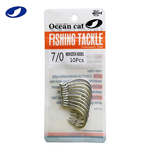OCEAN CAT 10 Pcs/Pack Assist Hooks SJ-51 Monster Stinger Jigging Jigs Hook Slow Fast Fall Size 3/0,5/0,7/0,9/0 (7/0)