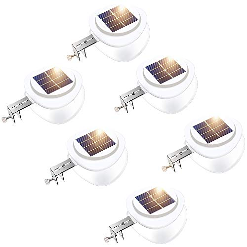 (Solar Gutter Lights, DS Lighting Outdoor 9 LED Fence Light Waterproof Security Lamps for Eaves Garden Landscape Pathway (Cool White, 6 Pack))