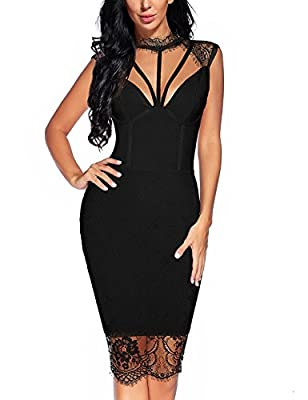 houstil Women's Bandage Collared Lace Mesh Backless Bodycon Party Dress