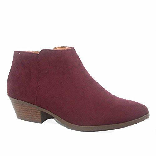 Soda Mug-s Women's Simple Fashion Low Heel Western Ankle Booties Shoes (8, Vino SV)