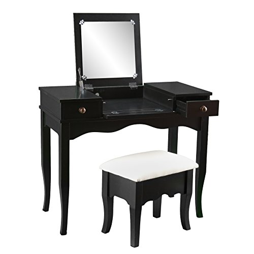 Southern Enterprises Francesca Vanity and Ivory Cushioned Bench Set, Black Finish with Antiqued Bronze Drawer Pulls by Southern Enterprises