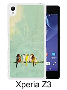 Xperia Z3 Phone Case,Pretty bird painting White Pattern Cool Design Sony Xperia Z3 Cover Case
