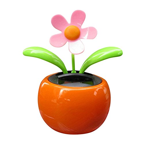 Glumes Solar Powered Dancing Toy Sunflower Swaying Flower for Car Decoration Happy Valentine Day Happy Halloween Day (Orange) ()