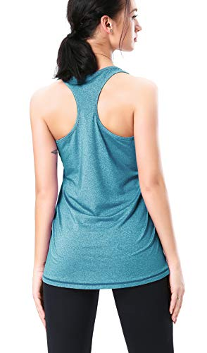 Bobovon Workout Training Top Sleeveless Athletic Fitness Shirts Racerback Running Tank Top for Women (Peacock Blue, S)