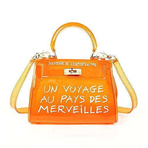 Poxas Top-handle PVC Women Shoulder Bags Jelly Candy Color Women Crossbody Bag (Small, Orange)